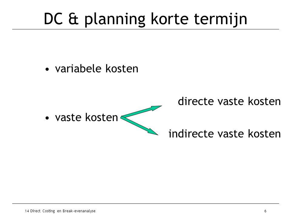 DC & planning korte termijn
