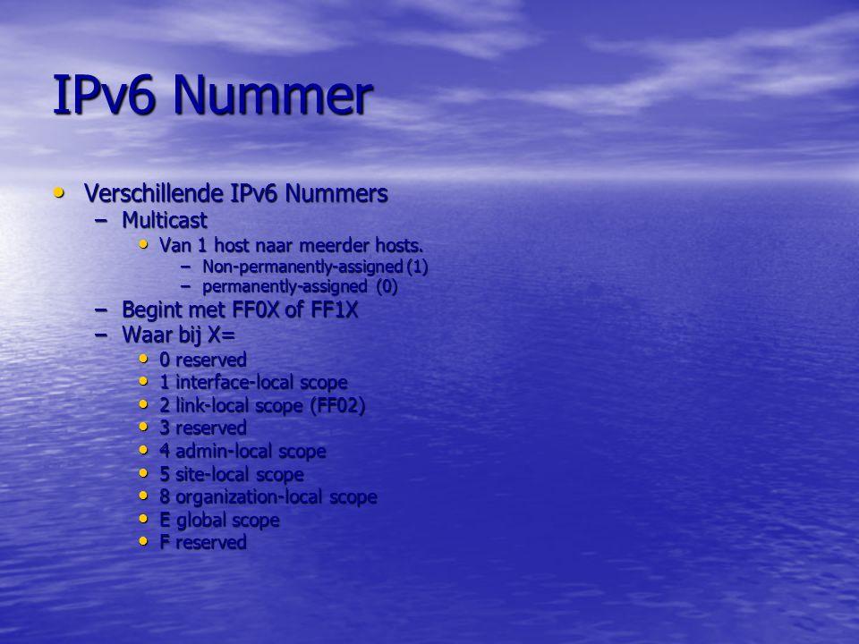 IPv6 Nummer Verschillende IPv6 Nummers Multicast