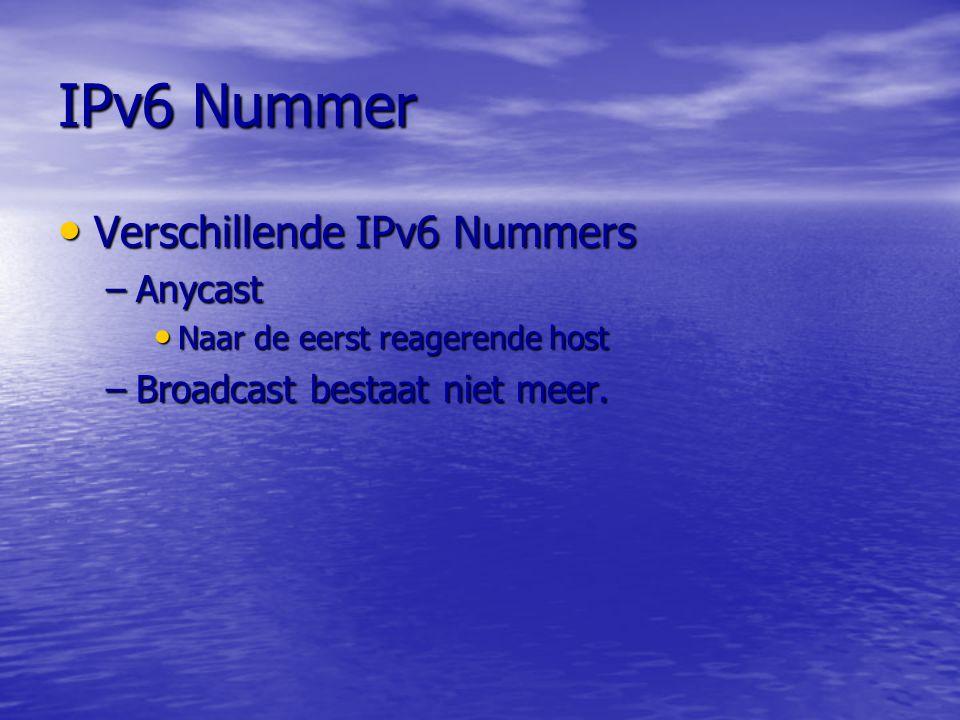 IPv6 Nummer Verschillende IPv6 Nummers Anycast