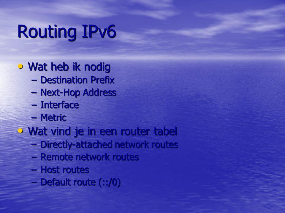 Routing IPv6 Wat heb ik nodig Wat vind je in een router tabel