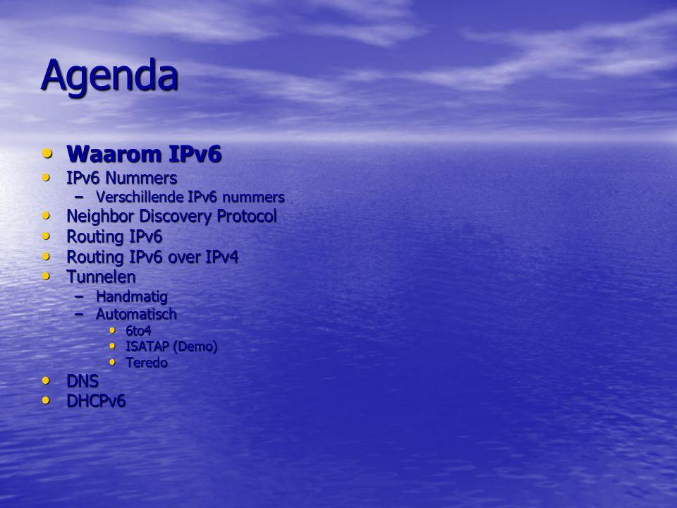Agenda Waarom IPv6 IPv6 Nummers Neighbor Discovery Protocol