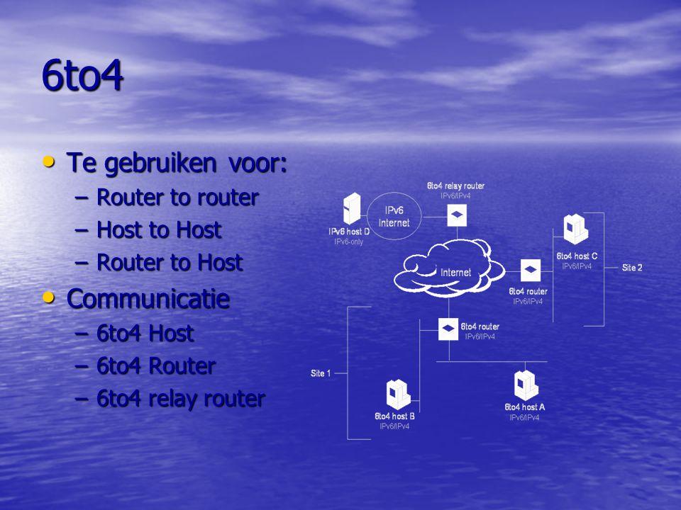 6to4 Te gebruiken voor: Communicatie Router to router Host to Host