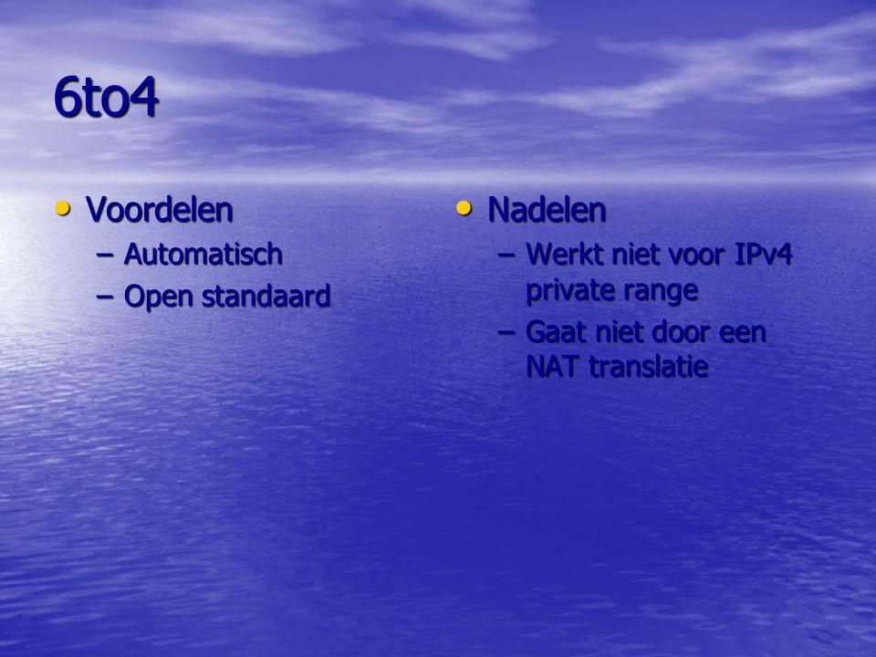 6to4 Voordelen Nadelen Automatisch Open standaard