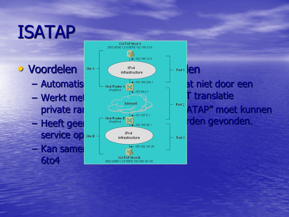 ISATAP Voordelen Nadelen Automatisch Werkt met IPv4 private range