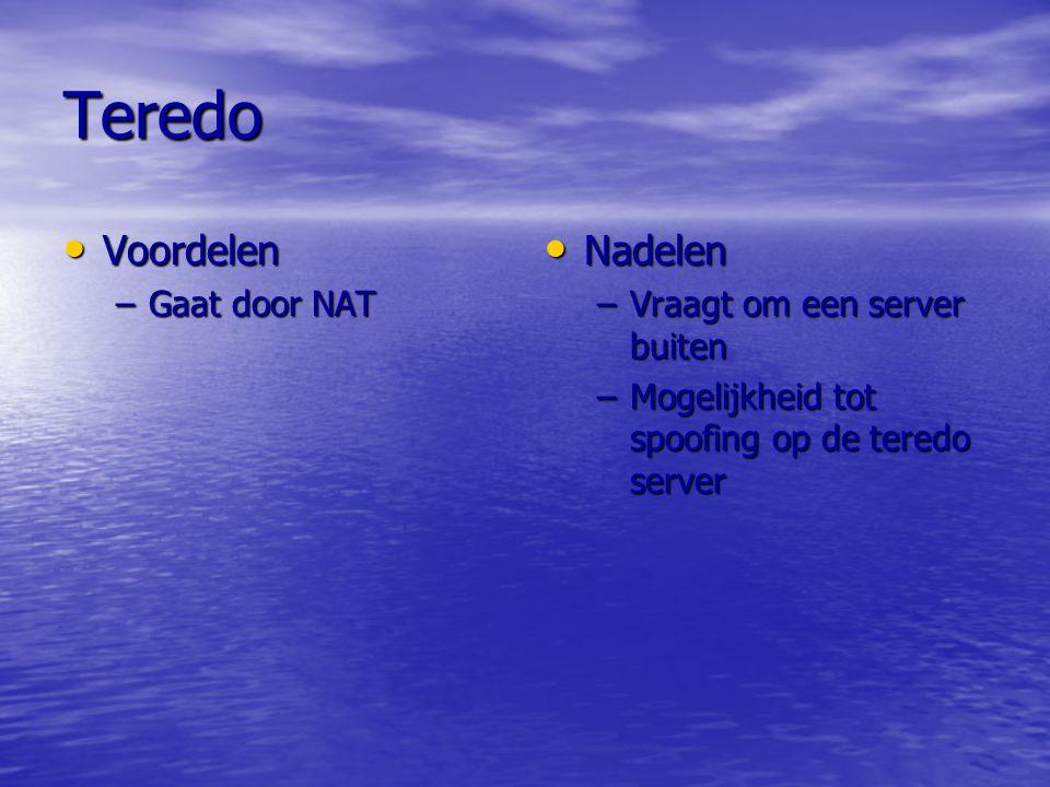 Teredo Voordelen Nadelen Gaat door NAT Vraagt om een server buiten