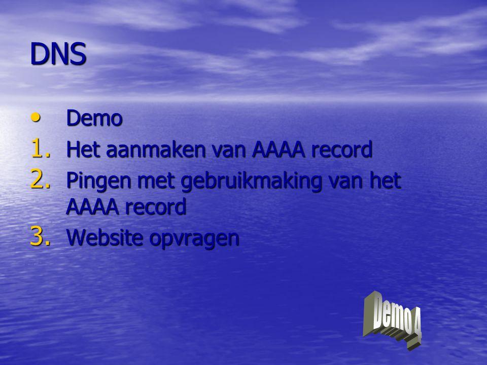 DNS Demo 4 Demo Het aanmaken van AAAA record
