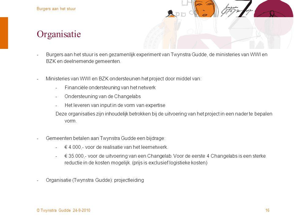 Organisatie Burgers aan het stuur is een gezamenlijk experiment van Twynstra Gudde, de ministeries van WWI en BZK en deelnemende gemeenten.