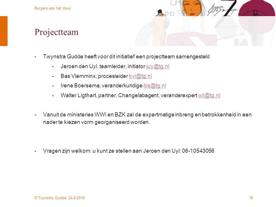 Projectteam Twynstra Gudde heeft voor dit initiatief een projectteam samengesteld. Jeroen den Uyl, teamleider, initiator juy@tg.nl.