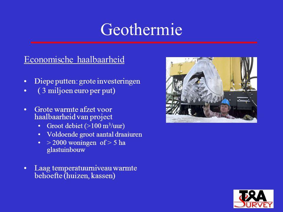Geothermie Economische haalbaarheid Diepe putten: grote investeringen