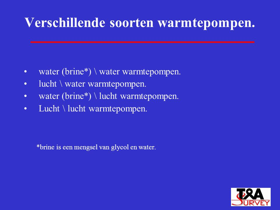 Verschillende soorten warmtepompen.