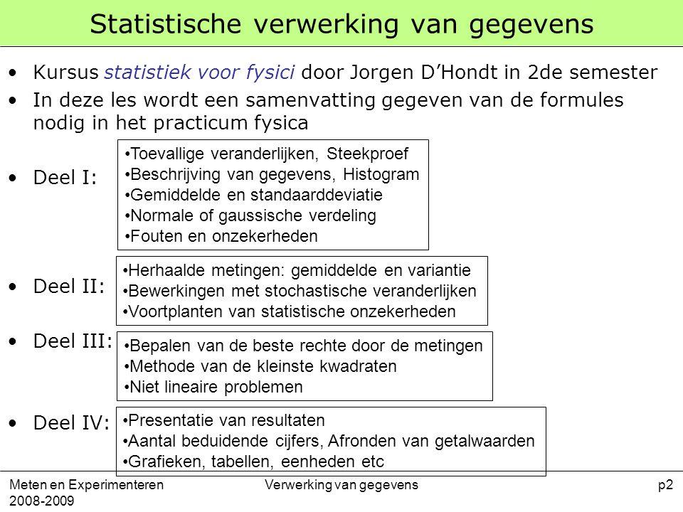 Statistische verwerking van gegevens