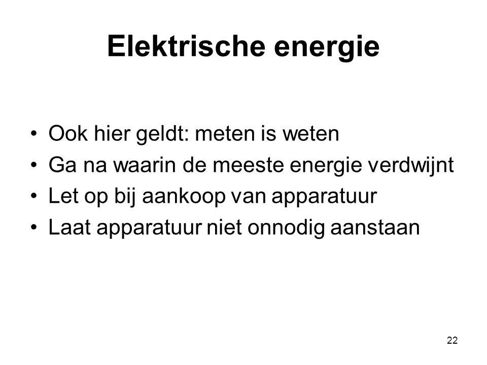 Elektrische energie Ook hier geldt: meten is weten