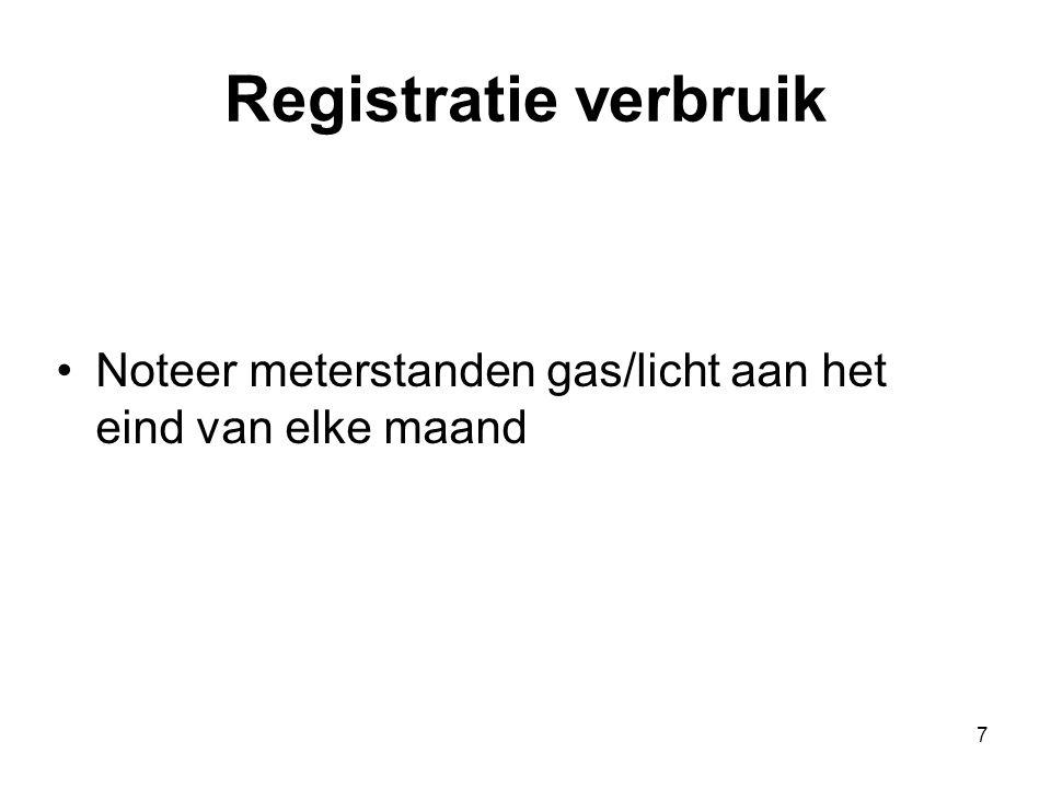 Registratie verbruik Noteer meterstanden gas/licht aan het eind van elke maand