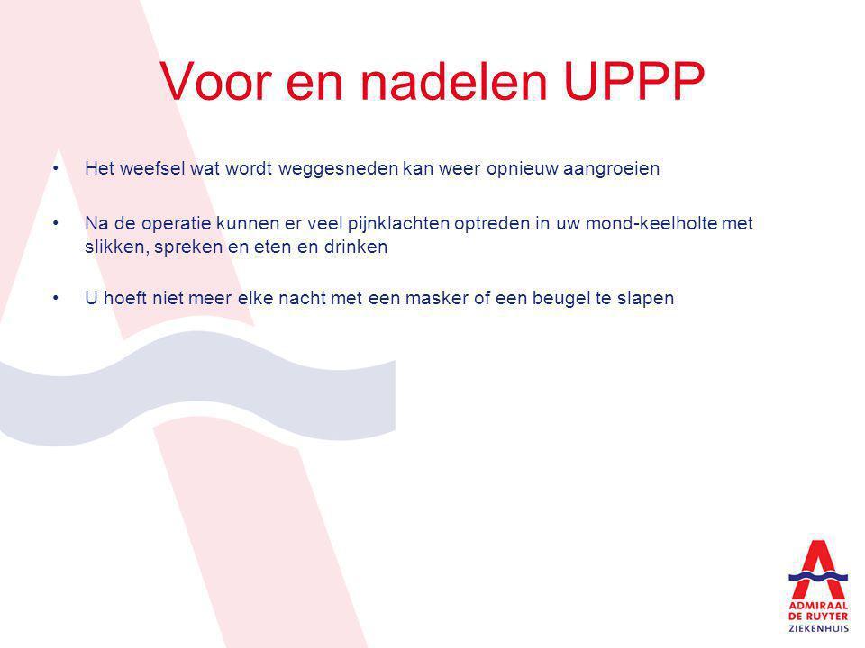 Voor en nadelen UPPP Het weefsel wat wordt weggesneden kan weer opnieuw aangroeien.