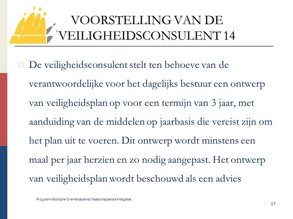 VOORSTELLING VAN DE VEILIGHEIDSCONSULENT 14