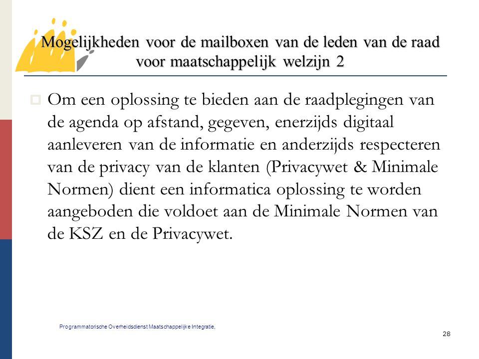 Mogelijkheden voor de mailboxen van de leden van de raad voor maatschappelijk welzijn 2