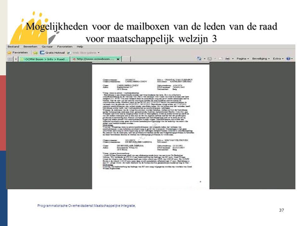 Mogelijkheden voor de mailboxen van de leden van de raad voor maatschappelijk welzijn 3
