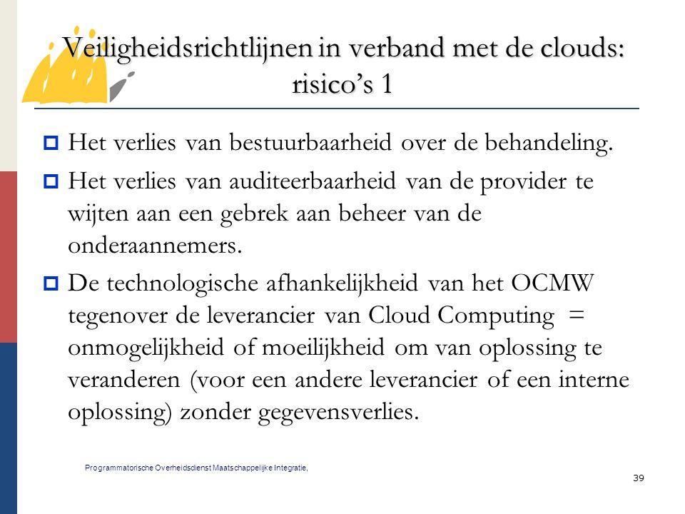 Veiligheidsrichtlijnen in verband met de clouds: risico's 1