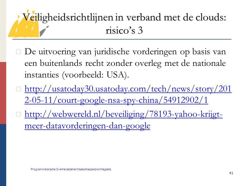 Veiligheidsrichtlijnen in verband met de clouds: risico's 3