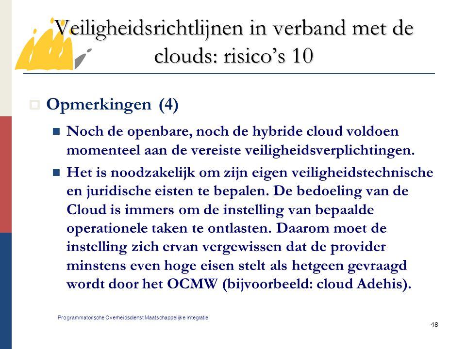 Veiligheidsrichtlijnen in verband met de clouds: risico's 10