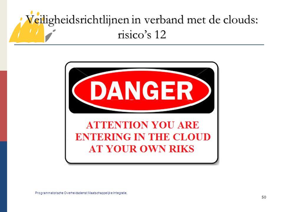 Veiligheidsrichtlijnen in verband met de clouds: risico's 12