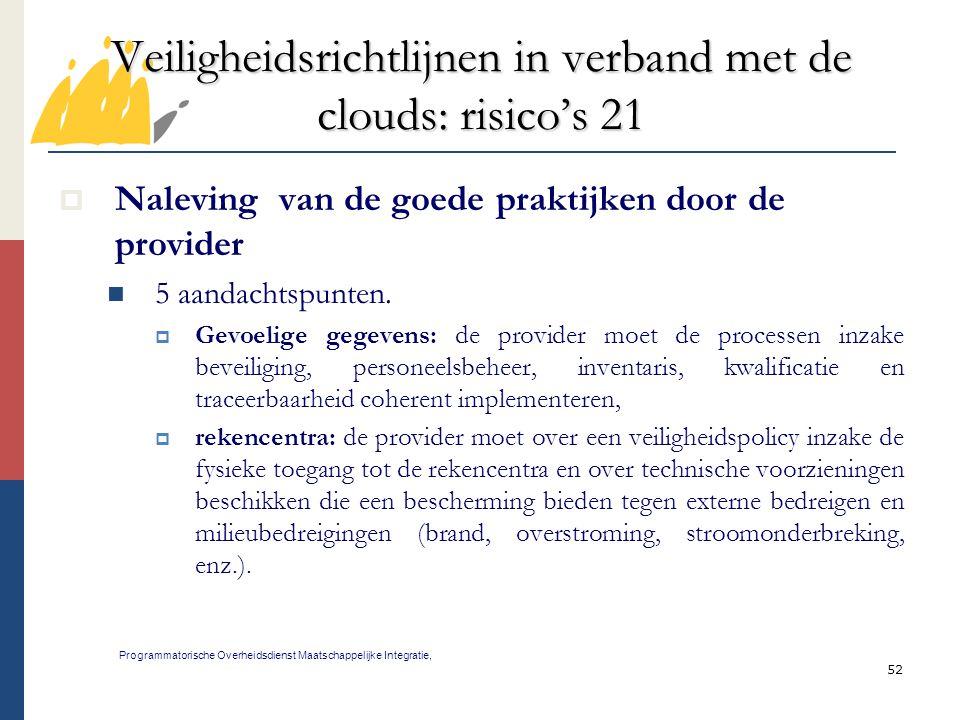 Veiligheidsrichtlijnen in verband met de clouds: risico's 21
