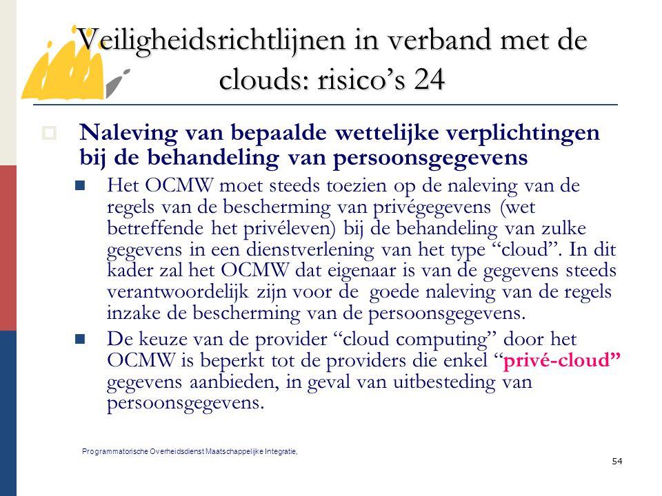 Veiligheidsrichtlijnen in verband met de clouds: risico's 24