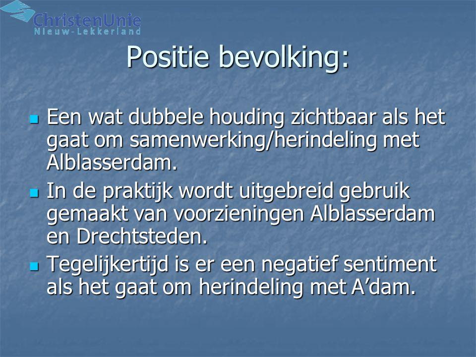 Positie bevolking: Een wat dubbele houding zichtbaar als het gaat om samenwerking/herindeling met Alblasserdam.