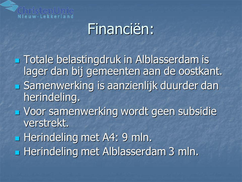 Financiën: Totale belastingdruk in Alblasserdam is lager dan bij gemeenten aan de oostkant. Samenwerking is aanzienlijk duurder dan herindeling.