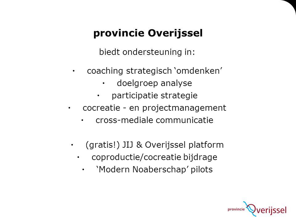 provincie Overijssel biedt ondersteuning in: