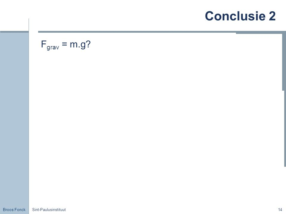 Conclusie 2 Fgrav = m.g Title Sint-Paulusinstituut