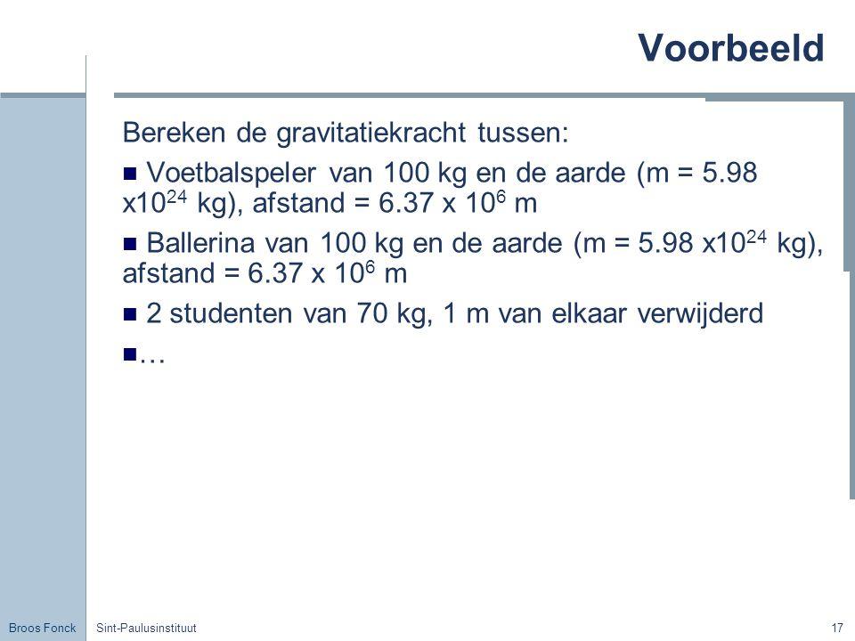 Voorbeeld Bereken de gravitatiekracht tussen: