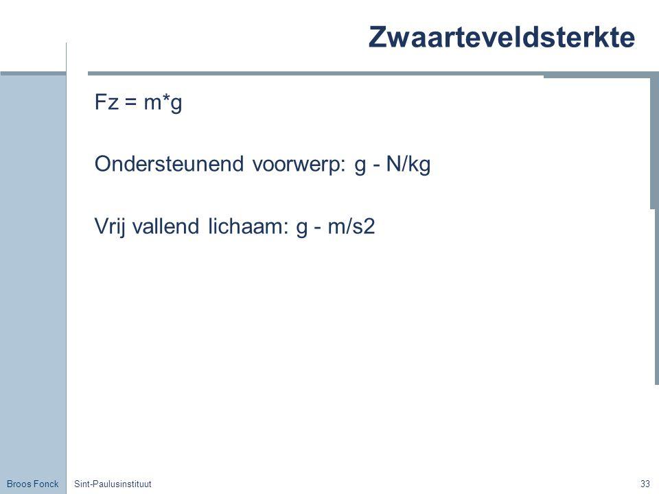 Zwaarteveldsterkte Fz = m*g Ondersteunend voorwerp: g - N/kg