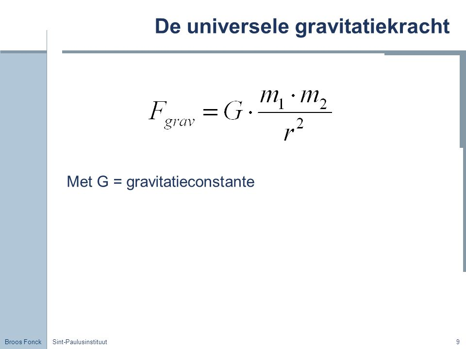 De universele gravitatiekracht