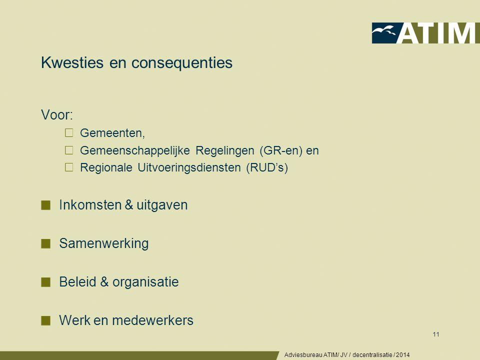 Consequenties gemeenten: inkomsten & uitgaven