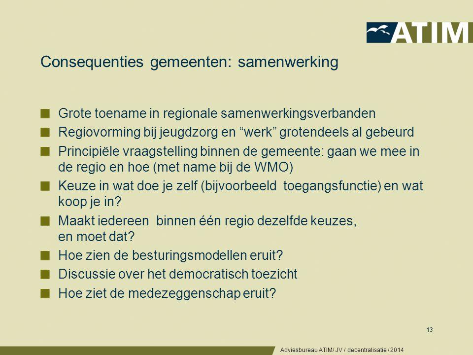 Consequenties gemeenten: beleid & organisatie