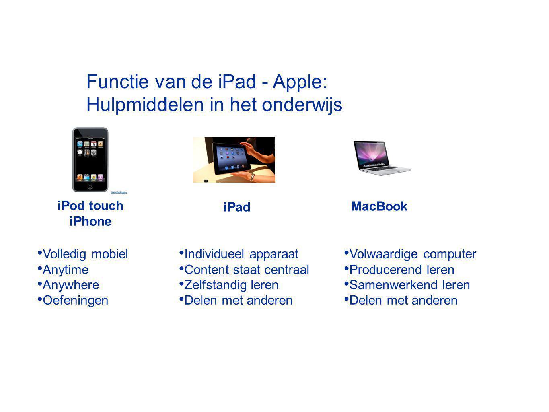 Functie van de iPad - Apple: Hulpmiddelen in het onderwijs