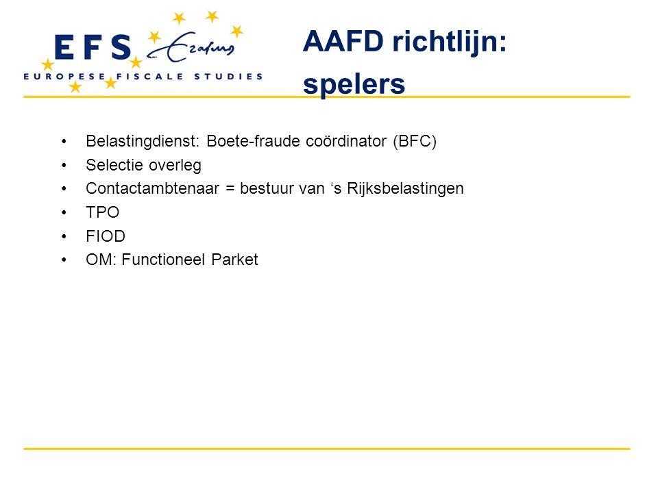 AAFD richtlijn: spelers