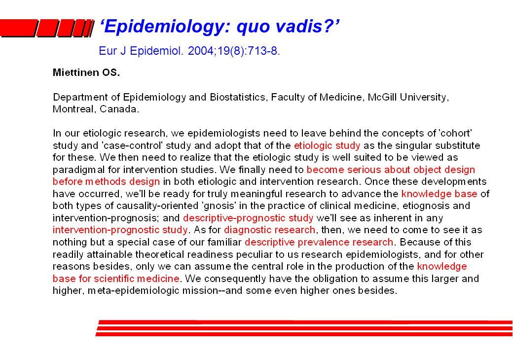 'Epidemiology: quo vadis ' Eur J Epidemiol. 2004;19(8):713-8.