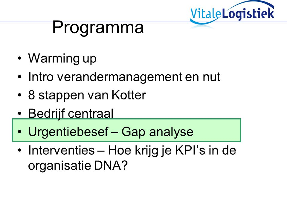 Programma Warming up Intro verandermanagement en nut