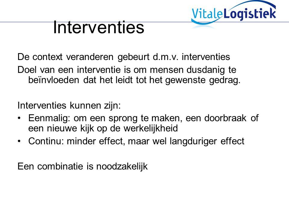 Interventies De context veranderen gebeurt d.m.v. interventies