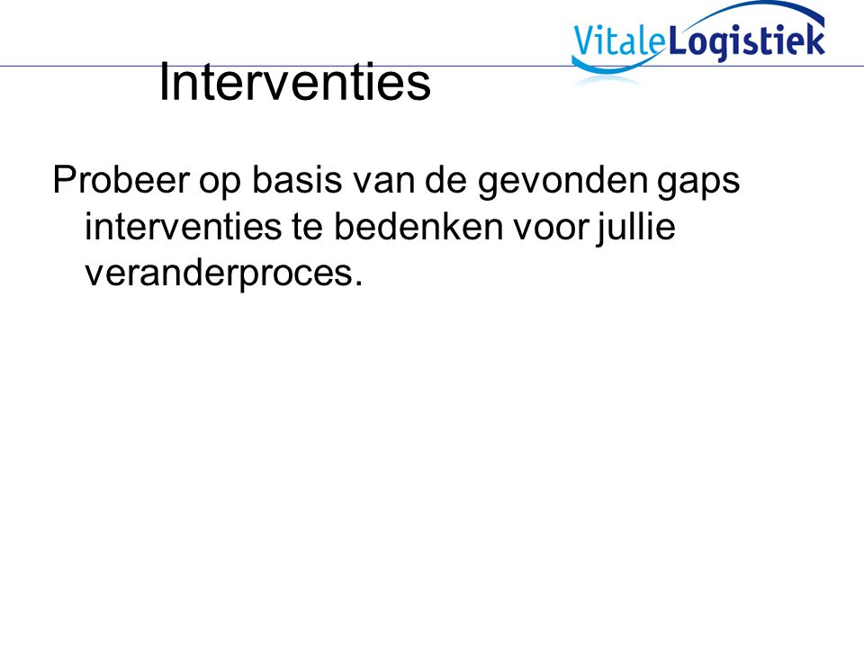 Interventies Probeer op basis van de gevonden gaps interventies te bedenken voor jullie veranderproces.