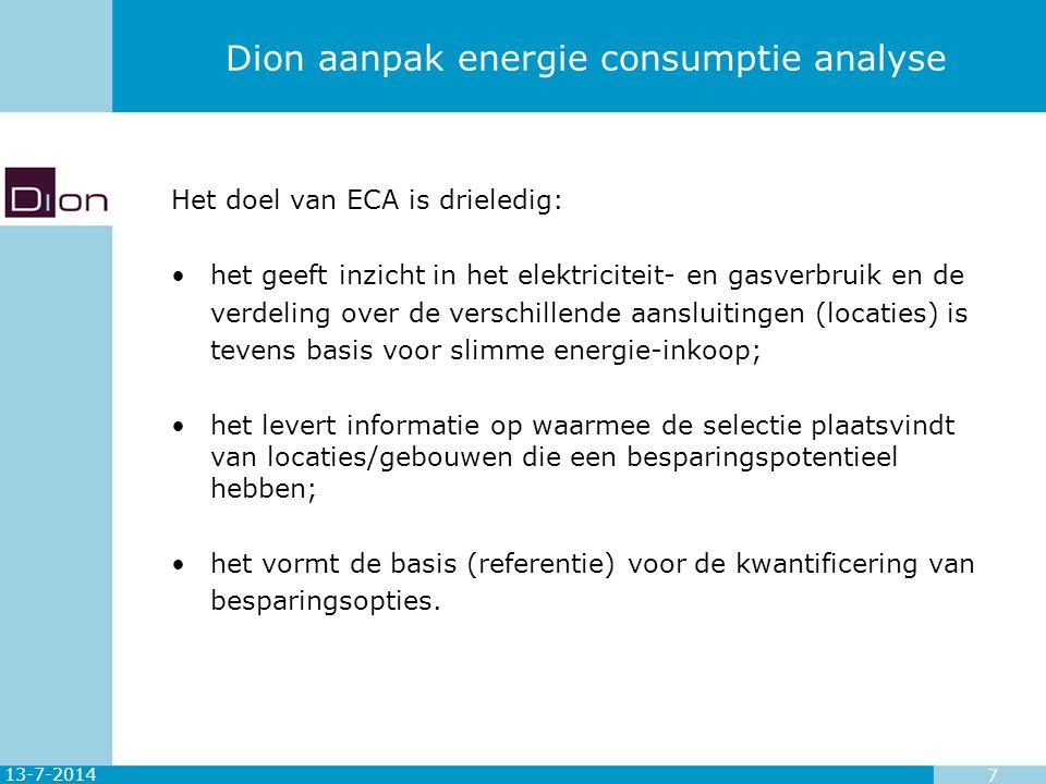 Dion aanpak energie consumptie analyse