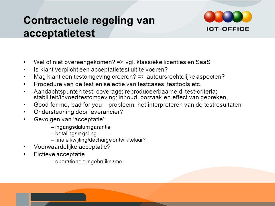 Contractuele regeling van acceptatietest