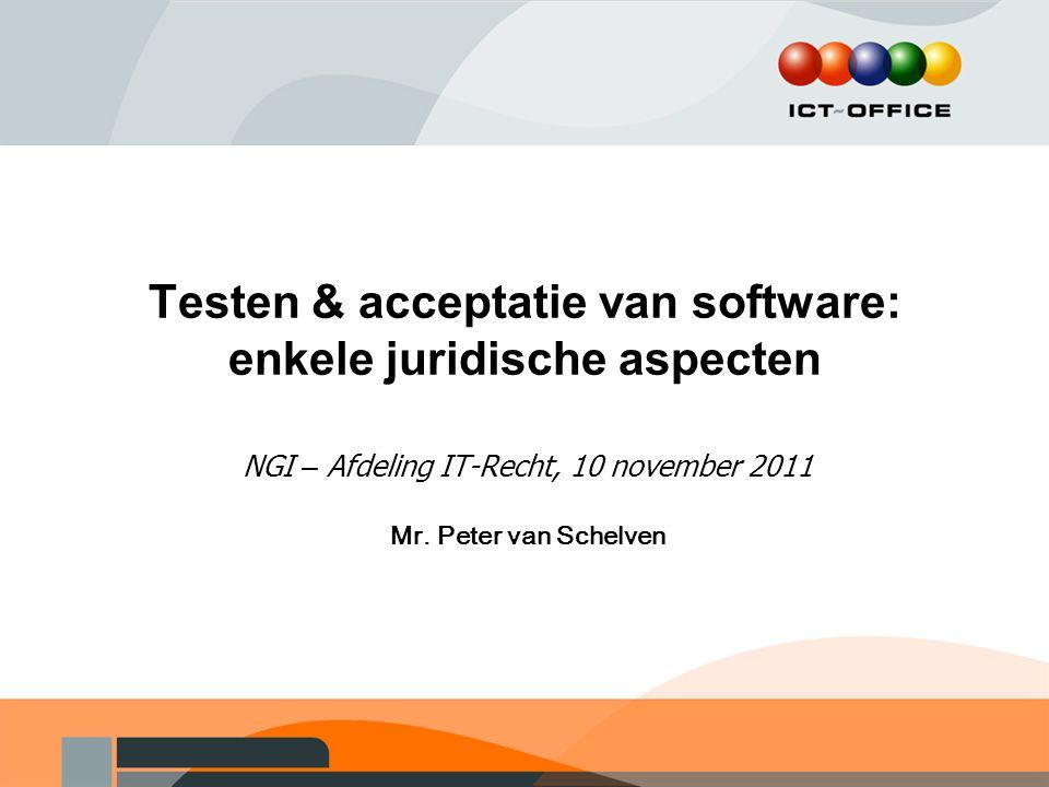 Testen & acceptatie van software: enkele juridische aspecten