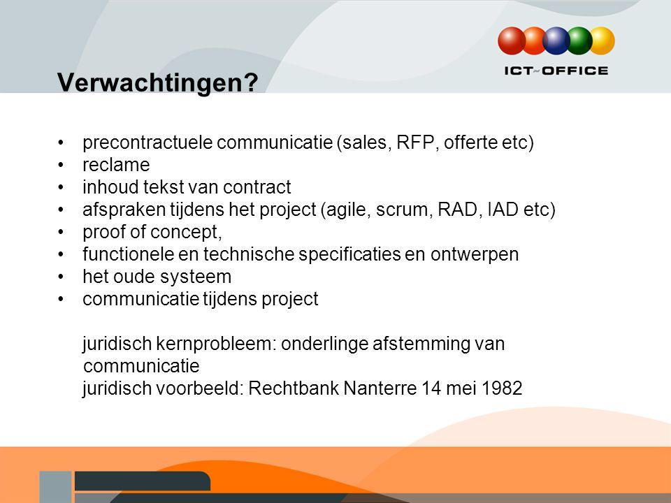 Verwachtingen precontractuele communicatie (sales, RFP, offerte etc)