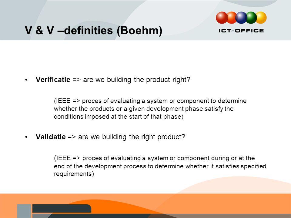 V & V –definities (Boehm)