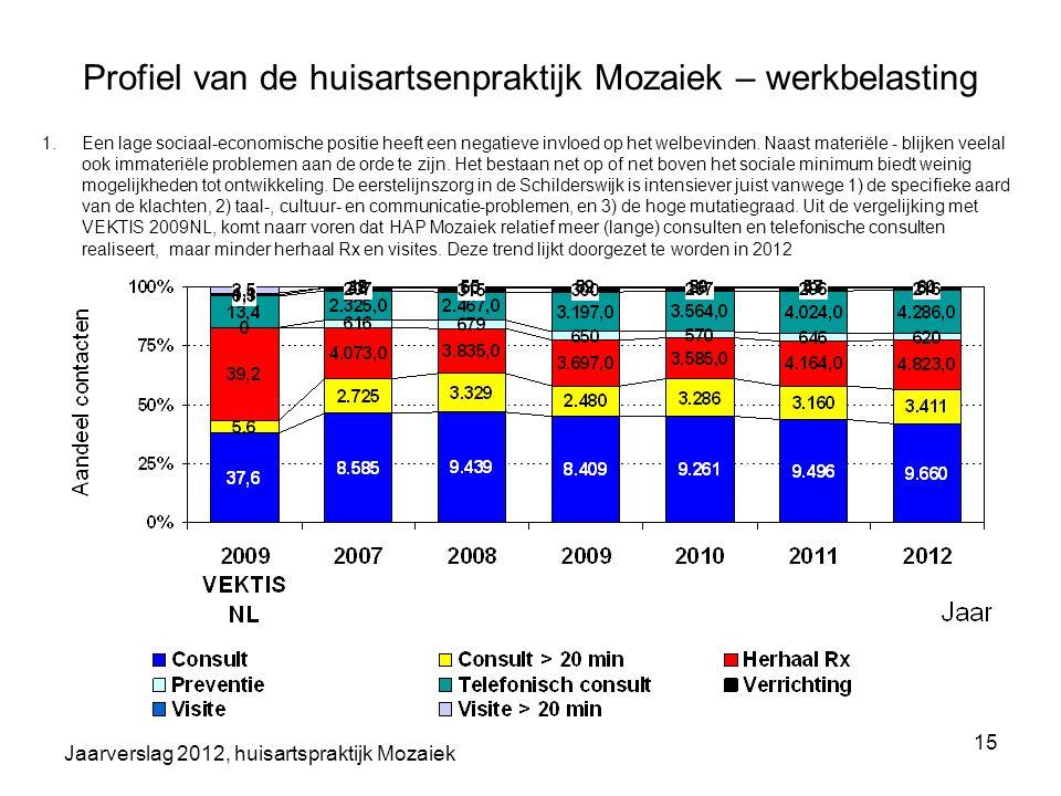 Profiel van de huisartsenpraktijk Mozaiek – werkbelasting