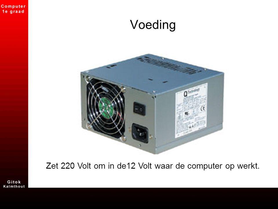 Zet 220 Volt om in de12 Volt waar de computer op werkt.