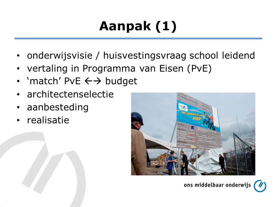 Aanpak (1) onderwijsvisie / huisvestingsvraag school leidend